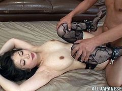 Japanese hottie Hikari Hino gets two huge cocks to suck. She loves to takes these Asian cock for a blowjob treatment while her wet pussy getting banged.