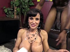 Sexy Brunette Lisa Ann With Long Hair and Fake Tits Gets passionate with her guy Isiah Maxwell In Interracial Hardcore before getting in Shower