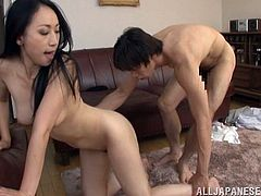 Long Haired Japanese Brunette Aya Shiina With Natural Tits In Thong yells as her Hairy pussy is Licked and screwed Doggystyle