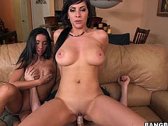 Jazmyn and Stephani Moretti likes to suck a huge cock for a blowjob and their big tits and wet pussies getting licked and fucked hardcore.