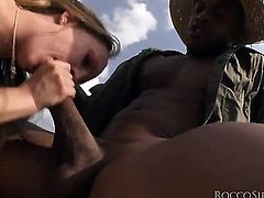 Blue Angel gets her bottom rammed good and hard by Rocco Siffredi in a wide variety of positions