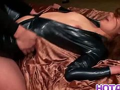 She is dead tired after the halloween party and doesn't change and go straight to the bed. She got a nice latex outfit but it is crotchless, so convenient for this pervert to fuck her hard.