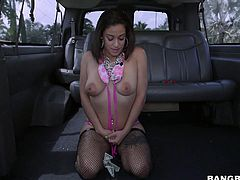 This nasty Latina brunette is walking the streets and puffing on her cigarettes. The bang bus picks her up and throws cash at her to get naked and shake her thick, round booty. She juggles her massive tits for the crew.