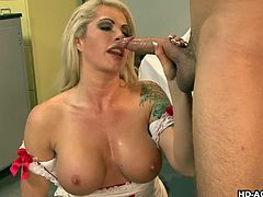 Brooke Haven is a nurse who bangs a patient with a large cock. She grabs his huge pole and puts it in her hungry mouth to slurp on it. He gets better instantly and fucks her pussy.