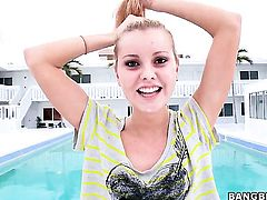 Chachita Jessie Rogers with tiny boobs and hairless bush shows her dick sucking talents