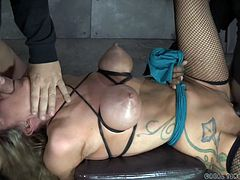 Extreme scenes of bondage and rough sex are filmed in real time, unleashing crazy fantasies that combine intense pain with a masochistic pleasure. The blonde slut in the video is strongly tied up. The helpless bitch obeys the two men desires to suck cock in brutal deep throats. Click to see Rain fucked hard!