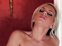 Lacey Foxx with huge boobs and hairless pussy getting down all by herself