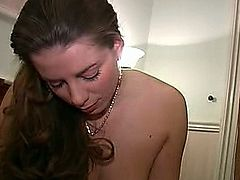 Hot russian beauty sucking fat cock