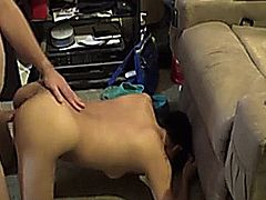 Video of an amateur asian milf giving head in the living room, posted by WifeBucket.com