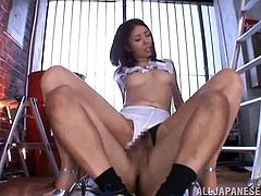 This lovely Japanese chick likes to play with her toys in masturbation but gets to suck and fuck a huge cock in hot orgasm.