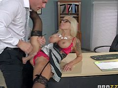 Blonde Nina Elle is his busty milf boss who loves his fat dick so much. She teases him with her massive melons and then pulls her pink panties aside to let him insert his pole in her needy vagina.