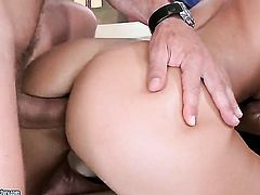 Brunette Larissa Dee with gigantic breasts asks her man to drill her sweet mouth