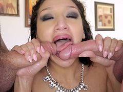 Superb cowgirl with long hair aroused as her pussy is licked then deepthroats a cock as she gives a handjob in a gangbang till they cum in her mouth