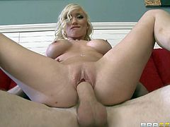 Madison Scott is a petite sex obsessed blonde with big fake tits and tight little bald pussy. She gets her pink hole filled with beefy cock and gets pleasure she wont soon forget. Watch busty slut ride dick like crazy.