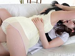 This sexy Asian lesbian loves to play with their shaved pussies in a hardcore masturbation. They get to lick and finger each other's pussy hardcore.