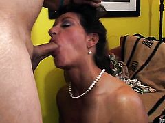 Persia Monir plays with hard meat stick