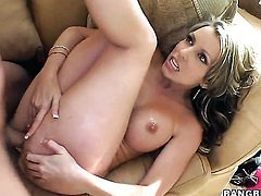 Courtney Cummz gives the man some sexual pleasure with her hands