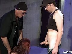 Checkout this hot bdsm video from Wasteland.See how this sexy brunette babe in shackles getting her ass spanked and her tight pussy fucked by two horny masters.