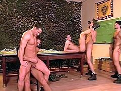 Hot body military guys fuck in foursome