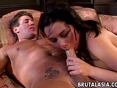 This naughty brunette chick loves to take a huge cock in her mouth for a suck in a good blowjob and gets her shaved pussy banged hardcore.