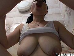 Libidinous mature Asian with big natural tits and long hair getting a sensual tit fuck before delivering a wicked POV blowjob