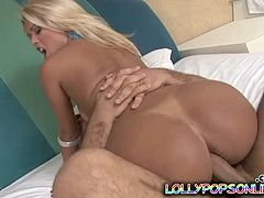 Nasty Blonde with Natural Tits and Long Hair shows her Ass the gives brilliant Blowjob her Asshole inserted Toy and nailed Hardcore