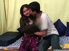 Indian Sex Lounge brings you a hell of a free porn video where you can see how this sexy Indian belle strips and plays with her man while assuming very hot poses.