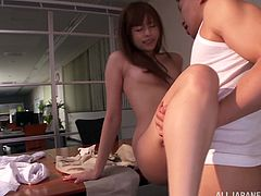 Libidinous Asian redhead with natural tits and long hair getting her hairy pussy fingered before giving loving blowjob in a wicked threesome