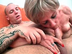 Smut mature nymph got her mouth and tongue  bussy about some large schlong