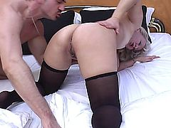 old woman with perky tits gets anal fucked by her toyboy.