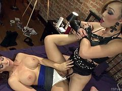 This redhead milf goes over to her tranny neighbor's place to tell her to keep the noise down, but he hot Asian tranny ends up fucking her like crazy. She puts her cock into that warm pussy and thrusts roughly while her boobs are grabbed.