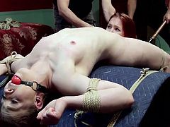 Two helpless bitches are bounded strongly and persuaded to offer sexual favors. A slutty redhead is encouraged to eat a brunette´s pussy. A dominant guy is pulling her hair while doing it. The dirty game involves also wearing a ball gag and playing with a vibrator. Click to see all the scenes!