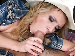 Blonde Nataly Von loves getting her mouth slammed by hot bang buddy