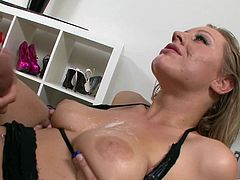 Doting blonde cowgirl with natural tits in stockings delivering a glamorous blowjob before getting an arousing tit fuck tlil he cums on her tits