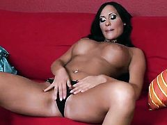 Claudia Capri finds herself horny enough and takes dildo in her fuck hole with big desire