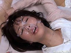 Three horny guys are awfully using a Japanese slutty babe with black hair and small lovely tits. She prefers being fucked from behind and sucking cock in the meantime. Watch her laying on the desk with legs spread and banged hard. The hottest moment is when her pretty face is fully covered with a load of cum.