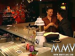 Laura is a German whore who meets a dude at the bar. She takes his dick in every hole and does ass to mouth when he shoots goo on her tongue. It drips on her chin.