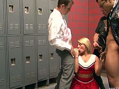 Scorching hot blonde cheerleader with natural tits giving wild blow jobs before getting pounded doggy style in a crazy locker room action