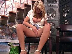 Cute blonde Alison Angel plays with her shaved pussy indoors