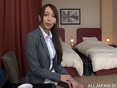 stunning japanese cowgirl with natural tits and in pantyhose sucks hard cock as she is fingered in her asshole and pussy then drilled hardcore