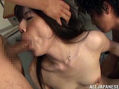 Charming Asian teacher with natural tits in stockings getting ravished with a vibrator before getting her hairy pussy banged hardcore