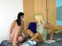 mature lesbian poses and undress and teases her tits then gets her pussy fingered and inserted toy while licking nicely in old and young scene