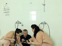 Poor voyeur male has punished by couple strict chunky ladies