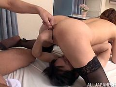 This is a horny Asian fuck and hardcore blowjob scene with a Japanese hottie cock sucking and gets anal hole banged hardcore.