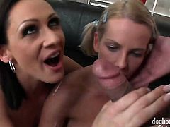 Kattie Gold loves the way George Uhls sausage makes its way deep down her mouth