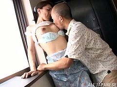 horny japanese house-wife enjoys her natural tits kissed then her pussy licked before being nailed hardcore in reality action
