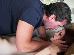 Lovely redhead Bree Daniels blows and enjoys rear banging