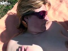 Carmen our perverted fuck doll from the country wants to be fucked in the open air. Quickly she finds two potent guys to fuck the hairy slut hard. They fuck her hard in turns and cum all over her face.