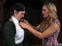 Lucia Love gets private time with Tanya Tate, in this 24 minute scene from Tanya Tate's Brit School Brats. The headmistress doesn't think this 18 to 21 year old brunette sees her own full potential, and Tanya can't have such a lovely young lady being left behind. A shockingly sudden seduction, and some sexy bossiness, wakes Lucia up ... aggressive sucking and fingering, wakes up her big tits and her pussy!