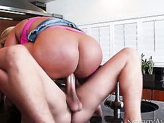 Mellanie Monroe is in heat in sex action with hard cocked dude Xander Corvus